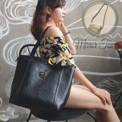 Túi xách nữ màu đen giá rẻ họa tiết đơn giản hợp thời trang