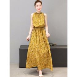 Đầm Maxi Lụa Hoa Eo Thun