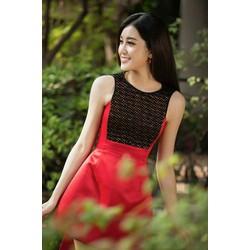 Đầm xòe đỏ phối ren cao cấp