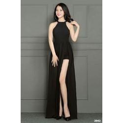 Đầm maxi cổ yếm xẻ tà cao cấp