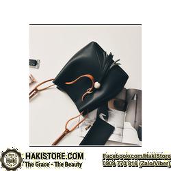 Túi xách nữ da mềm thời trang cá tính kèm ví nhỏ màu đen