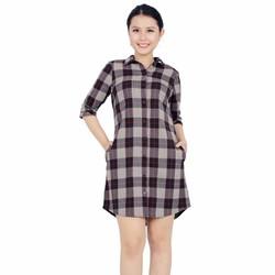 Đầm Sơ Mi Caro Trẻ trung- Váy Suông