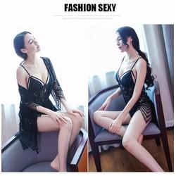 Set Áo Choàng Ren + Đầm Ngủ Ren lưới