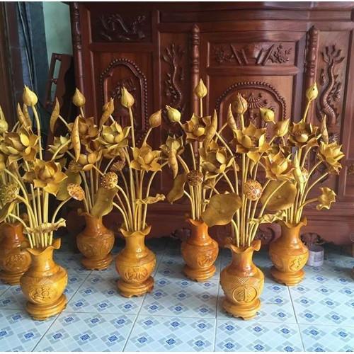 bình hoa sen gỗ mít - 10474437 , 7461521 , 15_7461521 , 749000 , binh-hoa-sen-go-mit-15_7461521 , sendo.vn , bình hoa sen gỗ mít