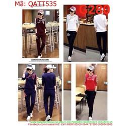 Bộ thể thao nữ dài tay sọc màu họa tiết xinh xắn QATT535