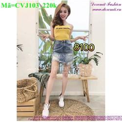 Chân váy jean rách oat cực bụi đáng iu CVJ103
