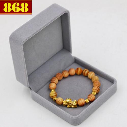 Vòng chuỗi gỗ Huyết rồng 10 ly charm Tỳ hưu A517 - hộp nhung