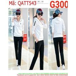 Bộ thể thao nữ dài tay áo khoác có nón phối quần dài QATT543