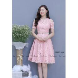 Đầm Xoè Ren Hoa Trễ Vai Hot - d2267
