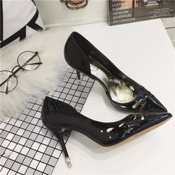 giày cao gót gót ngọc màu đen