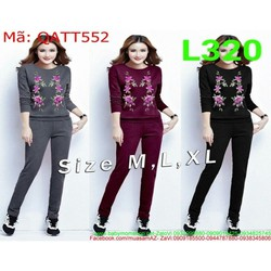 Bộ thể thao nữ áo dài tay và quần dài hình hoa xinh xắn QATT552