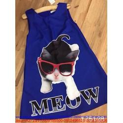 Đầm suông họa tiết chú mèo M DZ237