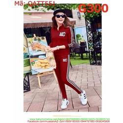 Bộ thể thao nữ áo dài tay cổ trụ và quần dài sọc dọc sành điệu QATT551