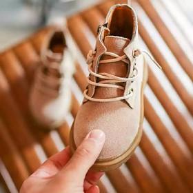 Giày bốt cho bé gái da lộn khóa kéo - B037 Be