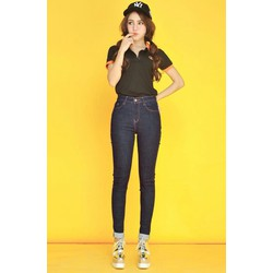 Quần jeans dài lật lai