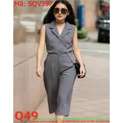 Sét áo kiểu sát nách cổ bẻ và quần ống lửng rộng thời trang SQV397