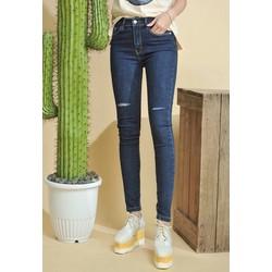 Quần jeans dài rách gối