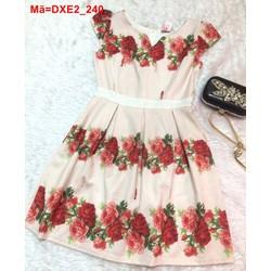 Đầm xòe tay con in hoa hồng trẻ trung  DXE2