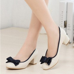 Giày búp bê gót vuông nơ xinh