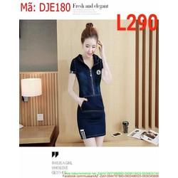 Đầm jean nữ công sở kéo khóa logo số 5 sành điệu DJE180