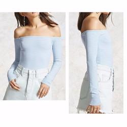 Bodysuit thiết kế sọc tay dài hở vai F21 Xanh