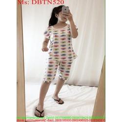 Đồ bộ nữ mặc nhà lửng hình icon mặt cười xì teen DBTN520