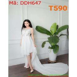 Đầm dự tiệc trắng phối tà dài sành điệu và trẻ trung DDH647