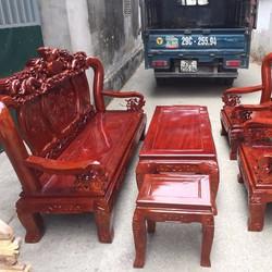 Bộ bàn ghế nghê đỉnh xà cừ tay 10