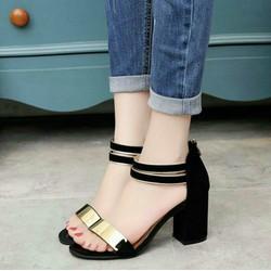 giày cao gót quai ngang phối kim loại