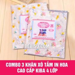 Combo 3 khăn xô tắm bé in hoa cao cấp KiBa 4 lớp - Hàng xuất Nhật