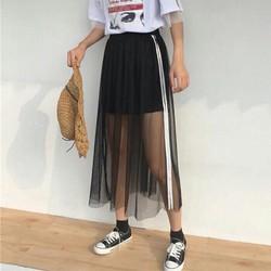 váy phối lưới