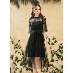 Đầm Xòe Lưới Kiểu Vintage Phối Ren