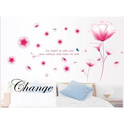 Decal dán tường hoa pha lê hồng