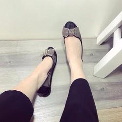 Giày búp bê đính nơ nhũ vàng
