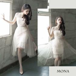 Đầm cúp ngực phối lưới Mona - Hàng thiết kế