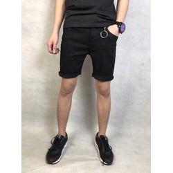 quần short jean nam đen
