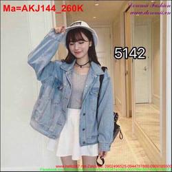 Áo khoác jean nữ form tay rộng sành điệu AKJ144