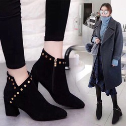 Giày bốt cổ ngắn thời trang xả hàng sale cực sock