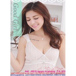 Đầm ngủ lưới xẻ ngực V viền ren hoa mang vẻ sexy quyến rũ DLS88