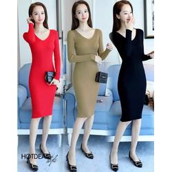 Đầm Body Cổ Tim Thu Đông Fashion