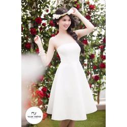Đầm xòe kiểu cúp ngang đơn giản sang trọng giống Ngọc Trinh