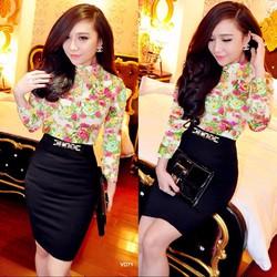 Set áosơ mi hoa hồng chân váy đen đính tagVD71 - V185