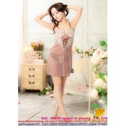 Đầm ngủ sexy màu sắc phối ren cực đẹp DLS18