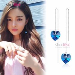 Bông tai tòn ten đính pha lê xanh thời trang Hàn Quốc SPE-C68
