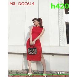 Đầm ôm dự tiệc sát nách ren đỏ xẻ tà 2 bên sành điệu DOC614