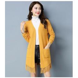 Áo khoác len tua rua phối 2 túi - Hàng nhập