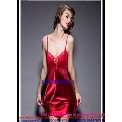 Đầm ngủ ren phối voan màu đỏ cực quyến rũ DLS38