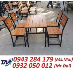 Bàn ghế gỗ xếp quán nhậu thanh lý - bàn ghế cafe giá rẻ.