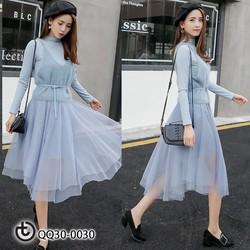 Set váy gồm 3 chi tiết áo len yếm, áo thun dài tay, chân váy voan