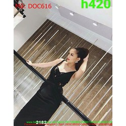 Đầm ôm dự tiệc 2 dây ren nổi màu đen sang trọng và sành điệu DOC616